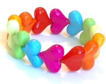 Bright Rainbow Chunky Heart Stretch Bracelet