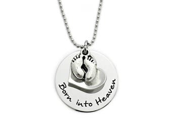 Personalized Infant Baby Memorial Necklace - Born Into Heaven - Child Infant Loss - Infant Pregnancy Loss - Miscarriage Remembrance - 1122
