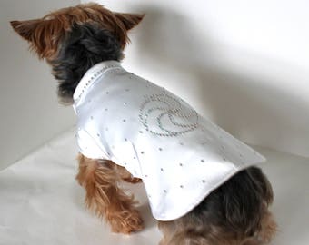 White Silk Dog Shirt with Pearlescent Crystals, size Small - Runway Look 2017 Fashion Couture Dog Clothes