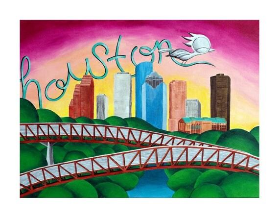 Houston Art Print - Dream Bird Art, Downtown Houston Skyline and Rosemont Bridge, 8x10, 11x14, 16x20 Giclee Print, Limited Edition