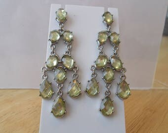 Post/Stud Silver Tone Chandelier Earrings with Pail Green Crystal Bead Dangles