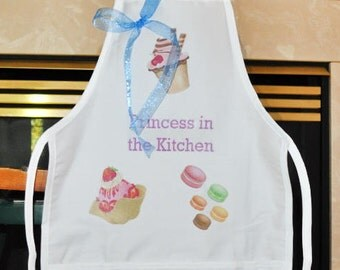 Personalized Kids Apron, White Apron With Desserts, Princess In The Kitchen Apron, Childs Apron