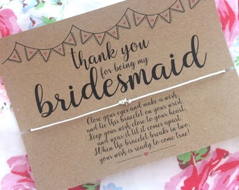 Thank you for being my Bridesmaid Wish Bracelet, Thank you Gift, Wedding Gift, Friendship Bracelet, Wish Bracelet.