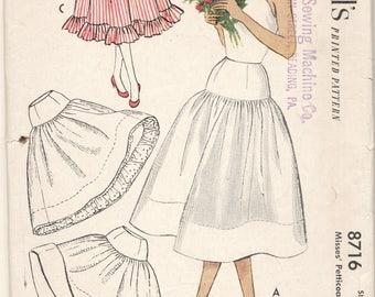 Vintage 1951 McCall's Pattern 8716 Petticoats Waist 26
