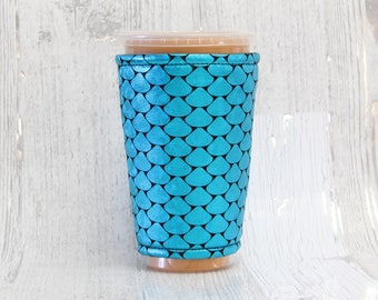 Iced Coffee Cozy, Coffee Cozy, Metallic Cup Cozy, Cup Sleeve, Red Metallic Coffee Cozy, Coffee Cuff, Eco Friendly, Insulated Cup Sleeve