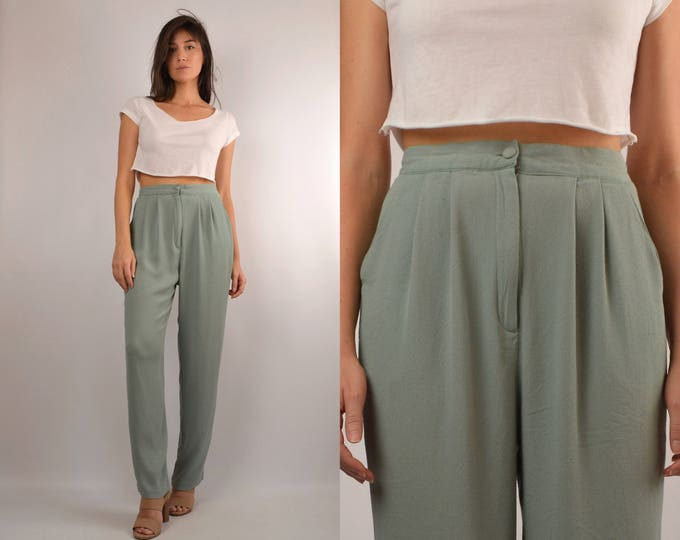 Vintage Mint Trousers / high waist pants