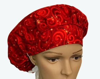 Bouffant Surgical Scrub Hat - Robert Kaufman Bouffant Scrub Hat - Red Stars with swirls Galaxy Ponytail Scrub hat - Custom Scrub Hat
