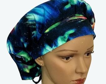 Bouffant Surgical Scrub Hat -Ice Land Northern Lights Scenery Bouffant Scrub Hat - Beautiful Ponytail Scrub-Custom-Personalized Scrub hat