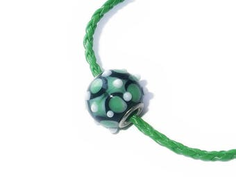 Larger Size Glass Lampwork Large Hole Bumpy Bead fits European Style Charm Bracelets and Necklaces, Emerald, Hunter Green and White Spots