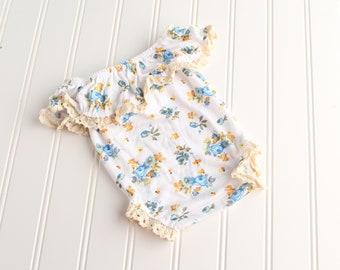 Summer Breeze - newborn off the shoulder ruffle romper in golden yellow, teal, blue, aqua, orange and white with cream trim  (RTS)