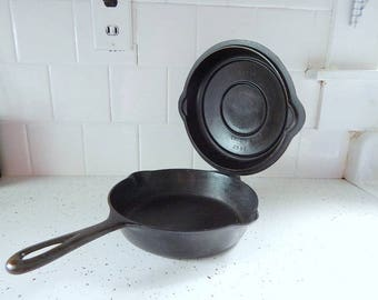 Griswold #5 Skillet #2505A Hinged Lid #2595 Late Handle Vintage Cast Iron.