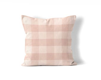 blush pillow cover, buffalo check pillow cover,farmhouse pillow cover,large plaid pillow, neutral decor, fixer upper style girl bedroom