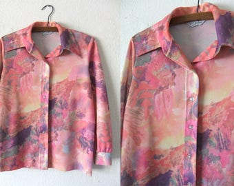 Psychedelic Landscape Disco Shirt - Tie Dye Club Kid Pastel Goth Watercolor Print Long Sleeve Button Down - Womens Medium