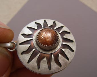 Sun Sunstone pendant made in sterling silver and copper