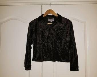 Vintage Black Velvet Cropped Button Up Blouse