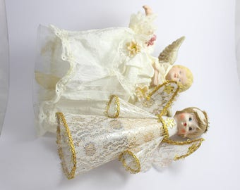 2 Christmas Angel Tree Topper Vintage Decorations Ornaments