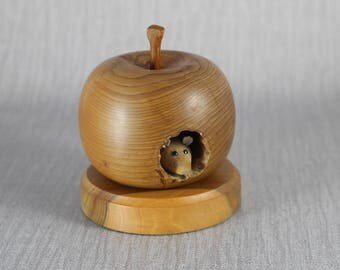 Hand Turned Wooden Apple Ornament with A Small Mouse Inside Brown Wood