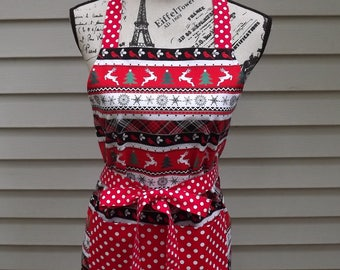 Christmas Red, Black, and White Striped and Polka Dot Apron