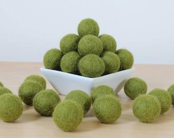 Felt Balls: ASPARAGUS, Felted Balls, DIY Garland Kit, Wool Felt Balls, Felt Pom Pom, Handmade Felt Balls, Green Felt Balls, Green Pom Poms