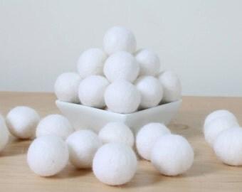 Felt Balls: WHITE, Felted Balls, DIY Garland Kit, Wool Felt Balls, Felt Pom Pom, Handmade Felt Balls, White Felt Balls, White Pom Poms