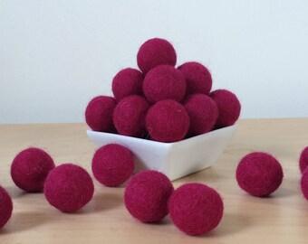Felt Balls: CLARET, Felted Balls, DIY Garland Kit, Wool Felt Balls, Felt Pom Pom, Handmade Felt Balls, Red Felt Balls, Red Pom Poms