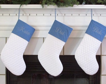 Set of 3 Personalized Christmas Stockings in Quilted White and Blue Family Stockings