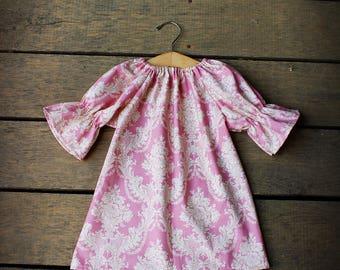 Girls Damask Dress, bohemian Dress, fall dress, baby dress, mauve, coming home outfit, minimalist dress, simple, thanksgiving dress,