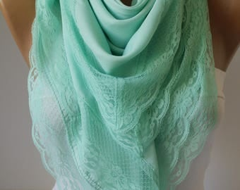 Mint Lace Scarf  Spring Shawl Scarf Special Mustard Scarf  Victorian Shawl Scarf Lace Scarf  Fashion Women Accessories For Her mom