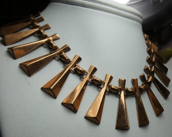 "Renoir Copper Cleopatra Necklace -46 grms- 13"" long- extends to 17"" --copper batons 30X9mm -2351"
