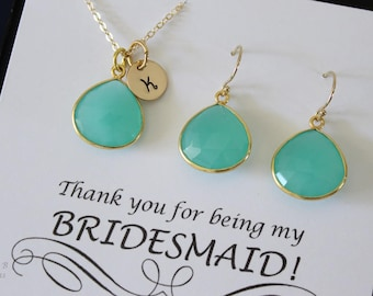 Green Initial Bridesmaid Necklace and Earring set, Bridesmaid Gift, Sea Foam Chalcedony, 14k Gold Filled, Monogram Jewelry, Personalized