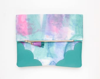 Dyed cotton clutch bag. Fold over clutch. Leather handbag. Statement purse. Hand colored.Turquoise natural leather. Pink handbag./DELIGHT 67