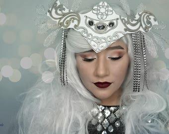 Glistening diamonds chandelier tiara Crown unique head dress hat headpiece,high fashion accessory, halo, ornate