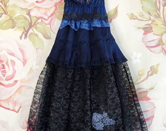 navy & black tiered babydoll party dress by mermaid miss kristin