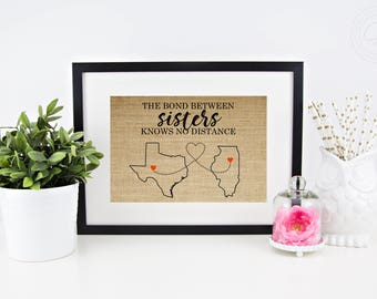 Sister Gifts Sister Gift Ideas Personalized Gift for Sister from Sister Valentines Day Gifts for Sister Bond Between Sisters Gift Burlap Map