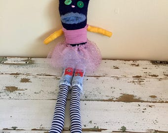 Unique Stuffed Bunny with Tutu and Patched Jeans, made from reclaimed clothing, sock animal, plush toy, sustainable, hand-stitched, OOAK