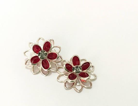 Swarovski Sterling Silver tone or Hypoallergenic Titanium Stud Earring Filigree Deep Red Black Diamond Flower Rhinestone Piercing Lady Gift