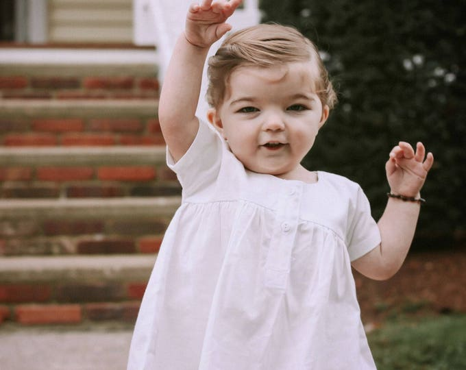 Girls White Dress - Gown for Baby - White Organic Cotton Dress - Toddler Clothes - Simple Baby Dress 6 to 12 months - Baby Gift Ideas