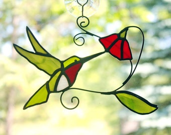 Ruby-throated Hummingbird with Flower Stained Glass Suncatcher, Bird Sun Catcher, Glass Art