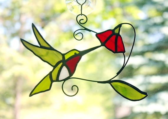 Ruby-throated Hummingbird with Flower Stained Glass Bird Suncatcher