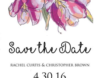 Watercolor flowers digital save the date,pink and purple watercolor flowers digital save the date, purple,pink flowers digital save the date