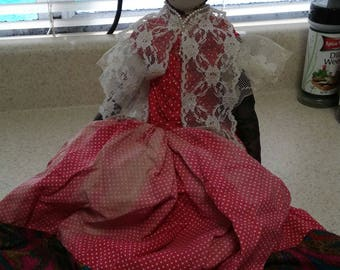 """14"""" Vintage Jamaican Doll Cloth with Plaster Head, Caribbean, Bahamas Black"""