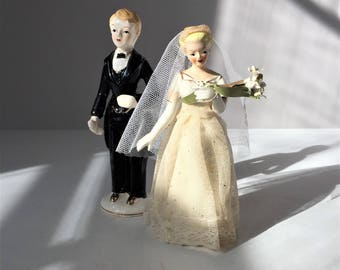 Wedding Cake Topper, Bride and Groom Figurines, 1950s Wedding Decor, Lipper & Mann Porcelain, Mr and Mrs Bridal Couple, Wedding Reception