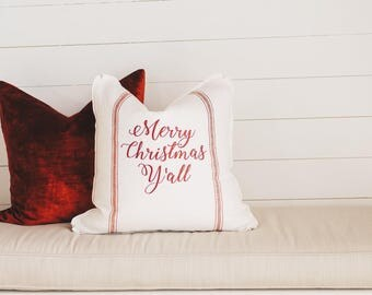 Merry Christmas Yall Decorative Pillow Cover