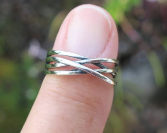Cool Vintage 925 Sterling Silver Open Work Ring