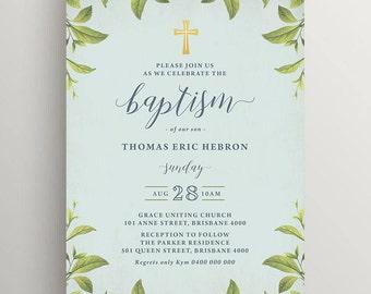Printable Boy Baptism or Christening Invitation (CH71)