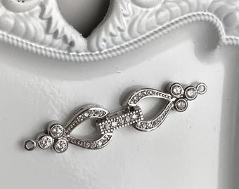rhinestone fold over jewelry clasp necklace closure hook silver toned supply filigree vintage style, 1 set