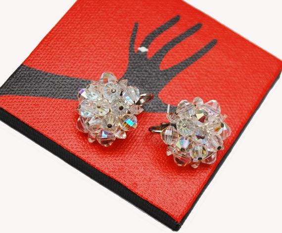 Laguna Crystal Bead Cluster Earrings - Aurora Borealis Glass -Clip on earrings