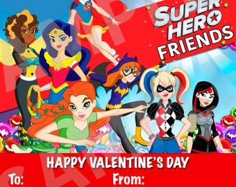 Girls SuperHero Valentine's Day Cards -DIY Printable Tags