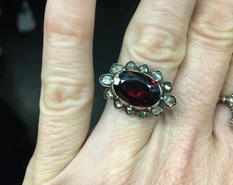 Rare Georgian Garnet and Table Cut Diamond Ring - 14K - Large - Gorgeous!
