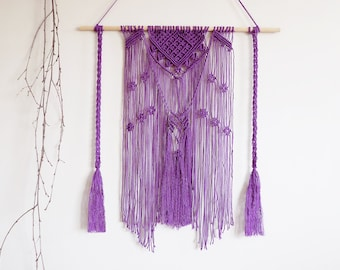 Macrame tapestry, wall hanging, wall decor, purple, boho, bohemian, makrame, boho home, wall tapestry, modern macrame, room decor, macrame